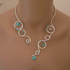 Collier original bleu turquoise/gris souris/argenté pr robe de mariée/mariage/soirée/cérémonie/coktail perles cadeau noël