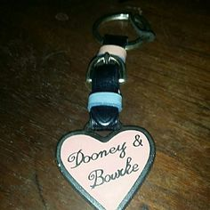 """Dooney and Bourke Vintage Key Ring Pink Heart with leather buckle strap. 6"""" long Dooney & Bourke Accessories Key & Card Holders"""