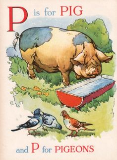 vintage ABC print Letter P is for Pig and by theStoryOfVintage Alphabet Nursery, Alphabet Print, Nursery Rhymes, Alphabet Cards, Alphabet And Numbers, Alphabet Letters, Vintage Pictures, Vintage Images, Vintage Ideas