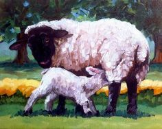 """Daily Paintworks - """"EWE AND LAMB"""" by Kristy Tracy"""