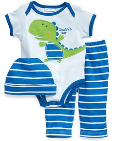 First Impressions Baby Set, Baby Boys Dino 3-Piece Hat, Bodysuit and Pants - Kids Baby Boy (0-24 months) - Macy's $4.49