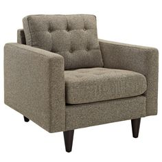 Fabric Upholstery Arm Chair with Solid Wood legs