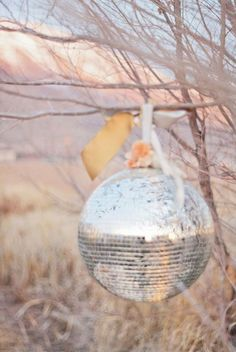 Fabulous idea - reflect the light and bring a little bling outside Imai Smith My Wedding // Disco balls. For any season really. Mirror Ball, Autumn Inspiration, Wedding Inspiration, Wedding Ideas, Style Inspiration, Jolie Photo, Disco Ball, Back To Nature, Summer Parties