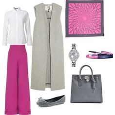 White shirt, fuchsia skirt and grey long vest with fuchsia hijab