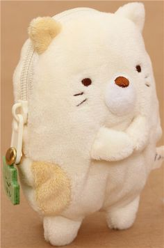 kawaii beige Sumikkogurashi cat plush pouch wallet 3