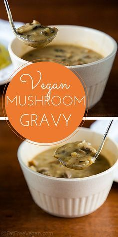 wonderfully savory vegan gravy is perfect for your holiday meal. Omnivores love it and never believe it has no added fat!This wonderfully savory vegan gravy is perfect for your holiday meal. Omnivores love it and never believe it has no added fat! Vegan Mushroom Gravy, Vegan Gravy, Mushroom Recipes, Vegan Foods, Vegan Dishes, Whole Food Recipes, Cooking Recipes, Pesto, Holiday Recipes