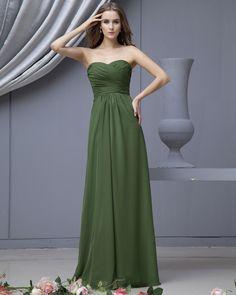 Empire Strapless Satin Chiffon Brush Train Bridesmaid Dress