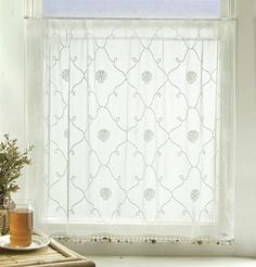 lace curtain to sew for bathroom window.