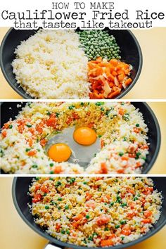 If you're looking for a vegetarian low carb dinner idea, you're going to love this guide on how to make cauliflower fried rice! This easy cauliflower fried rice recipes is an Asian-inspired Chinese takeout meal that's full of flavor, keto, and perfect for Low Carb Vegetarian Recipes, Keto Recipes, Healthy Recipes, Vegetarian Cauliflower Recipes, Healthy Vegetarian Dinner Recipes, Family Vegetarian Meals, Healthy Dinner For One, Vegetarian Fried Rice, Veggie Keto