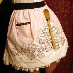cute apron with spoon holder