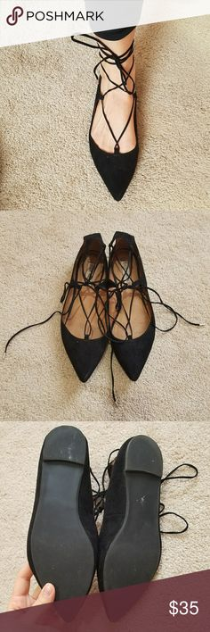 Steve Madden flats Black lace up flats by Steve Madden. Worn a few times but in great condition. Soles shown in 3rd picture. Steve Madden Shoes Flats & Loafers