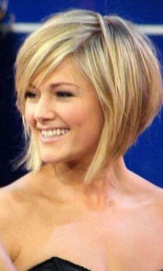 Inverted bob with bangs. Blonde.