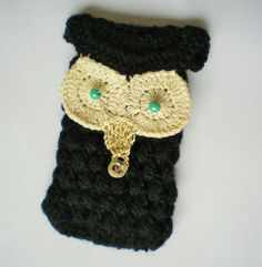 etui na smartfon : szydełkowa sowa