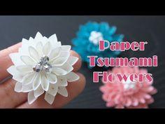 """紙で作るつまみ細工みたいな丸い花 - Paper """"TSUMAMI"""" Flowers - YouTube"""