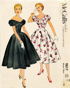 McCalls 9817 Vintage 1950s Dress Pattern After Five Cocktail Party Dress Alluring Off Shoulder Neckline. $36.00, via Etsy.