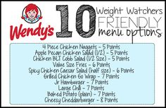 Here are 10 menu options at Wendy's that will fit into your Weight Watchers Meal Plan – All 7 Points or Less! Please PIN THIS POST to your Weight Watchers board! Be sure to check out 50 Weight Watchers Friendly Fast Food Options – including KFC, Wendy's, Arby's, Taco Bell, and McDonald's! 4 Piece Chicken Nuggets – 5 …