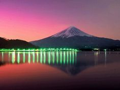 "with beautiful green lights. Please visit my board ""Mt. Fuji Our Pride"". Enjoy repinning and follow!!"