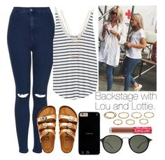 """""""Backstage with Lou and Lottie."""" by welove1 ❤ liked on Polyvore featuring Topshop, Ray-Ban, Zara, Birkenstock, Forever 21, Akira and Lime Crime"""