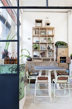 Restaurant design coffee shop interior with stacked crate shelving