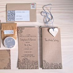 A gorgeous modern invite suite designed for a summer farm wedding with cute details.