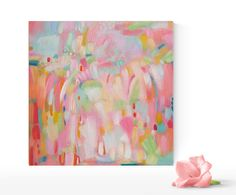 Pink Modern Art Pink Orange and Coral Abstract Painting Pink and Yellow Wall Art Spring Colors Nursery Abstract Art Small Pink Painting