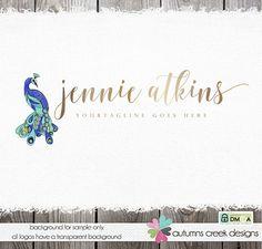 premade logo photography logo feather logo peacock feather