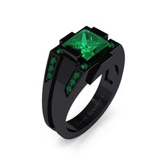 Mens Modern 14k Black Gold 2.0 Carat Princess Emerald Wedding Ring R1020M-14KBGEM