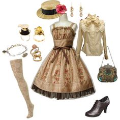 I am IN LOVE with that bag. I also love the dress and the hat. The blouse has a bit too much adornment on it for me. :: Classic Tea Party, created by deery on Polyvore