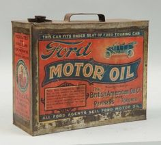 Lot: Ford Motor Oil One Gallon Soldered Seam Flat Can., Lot Number: 0163, Starting Bid: $500, Auctioneer: Dan Morphy Auctions LLC, Auction: Automobilia & Petroliana Sale Day 1, Date: January 9th, 2016 CST
