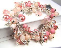 Pulsera perla Cha Cha salmón rosado claro hecha por Thebracelettree