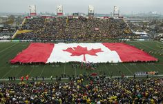Rolling out the Enormous Canadian Flag at CFL team Hamilton Tiger Cats at Ivor Wynne Stadium Hamilton Ontario Canada, All About Canada, Canadian Football League, I Am Canadian, Cat Memorial, Right Time, Time Photo, Old Photos, Cats