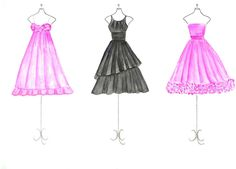 Watercolor Pink and Black Dresses Fashion Illustration by Zoia