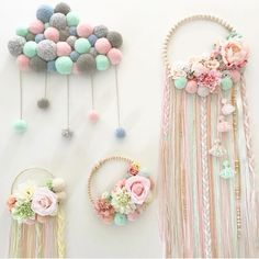 I like that pompom cloudPin by Ann Westby on MacrameBaby girl nursery decorations created with love, passion and care for details.Try using braided yarn instead of ribbon for tassels on embroidery hoop dream catcher.No photo description available. Baby Crafts, Diy And Crafts, Crafts For Kids, Stick Crafts, Simple Crafts, Macrame Projects, Diy Projects, Diy Tumblr, Pom Pom Crafts