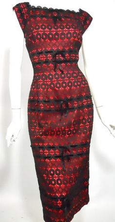 Vintage red taffeta and black lace 50s dress.