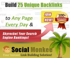 SocialMonkee - Your Instant Backlink Builder! Get 25 backlinks everyday when you submit your site.Sign up :  http://www.socialmonkee.com/index.php?af=123474