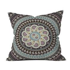 """Throw pillow with a paisley mandala motif. Designed by Belle13 for DENY Designs.   Product: PillowConstruction Material: Woven polyester cover and fiber fillColor: MultiFeatures:  Insert includedHidden zipper closureDesigned by Belle13 for DENY Designs Dimensions: 18"""" x 18""""Cleaning and Care: Spot treat with mild detergent"""