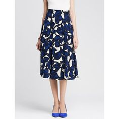 Banana Republic Womens Floral Ponte Midi Skirt Size 00 Petite - White/blue featuring polyvore, fashion, clothing, skirts, blue midi skirt, high waisted skirts, floral midi skirt, high waisted floral skirt and midi skirt