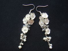 I feel pretty. oh so pretty! Flower Fresh Water Pearl and Swarovski Bead drop Earring by ZAVABA