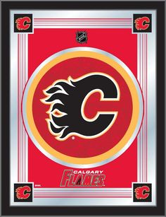 Calgary Flames Holland Bar Stool Co. Collector Red Logo Mirror x Mirror Wall Art, Hanging Wall Art, Mirror Glass, Nhl Logos, Holland Bar Stool, Anaheim Ducks, Red Logo, National Hockey League, Chicago Cubs Logo