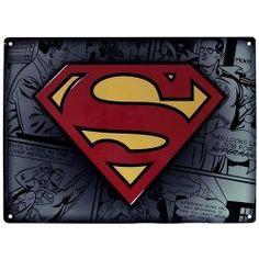 PLACA DE METAL SUPERMAN 28X38, el mejor precio, Encuentra el famoso símbolo SUPERMAN en relieve en esta gran placa de metal de DC Comics. - Impresión de alta calidad en metal. - Piezas de relie...