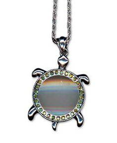 """Do you need to have a #magnifier to check your work or read a menu?  Then you will like this magnifier which is stylish and functional!  The turtles shell is the magnifier and is surrounded by rhinestones.  The #turtle measures 1.75"""" x 2.25"""".  The pretty neck chain has a hang length of 19"""" from the clasp.  #stitching #embroidery #tools"""