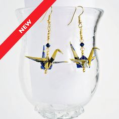 Blue & Gold Earrings,Paper Jewelry Earrings,Cool Origami Gifts,Origami Birthday…