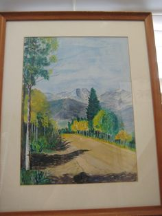 1962 Vintage Original Watercolor Mt. Ypsilon, Rocky Mt. Co. By E. Comstock