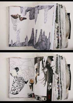 Fashion Sketchbook with a mixed media layout, fashion design drawings, research geometric pattern development; fashion portfolio // Ania Leike