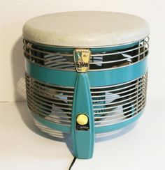 Mid Century Modern 50s Hassock Fan Floor Foot Stool 3 Speed Vtg Green Metal Eame | $180