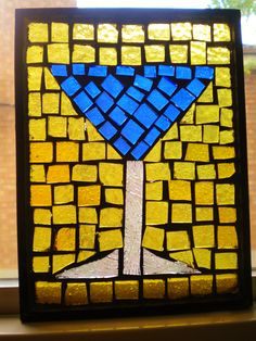 """""""Martini time!"""" Recycled stained glass mosaic."""