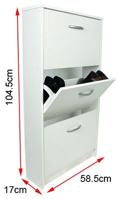 Buy Designer 3 Tier Shoe Cabinet In White