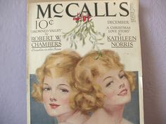 vintage 1940's McCalls magazine cover, 2 blonde girls twins, december, christmas, pink, unframed art print, shampoo ad, love story