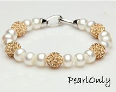 white pearl bracelet, freshwater cultured pearl bracelet,girls pearl bracelet,natural pearl bracelet,pearl bracelets for brides BL002 on Etsy, $13.00