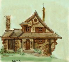 Storybook Architecture   STORYBOOK COTTAGE STYLE HOME PLANS    Hobbit house plan Gretel has curved walls  stories  bedrooms  roof top patio  fairy tale house plan  two car garage at lower level  entry at flr